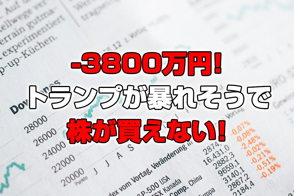 【投資報告】-3800万円!株が凄い上がりそうだけど怖くて買えない!トランプ大統領暴れそう!