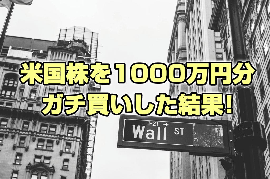 アメリカ株を1000万円分ガチ買いした結果!!【銘柄公開】