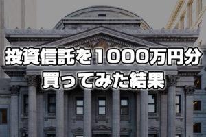 投資信託を1000万円分買ってみた結果!
