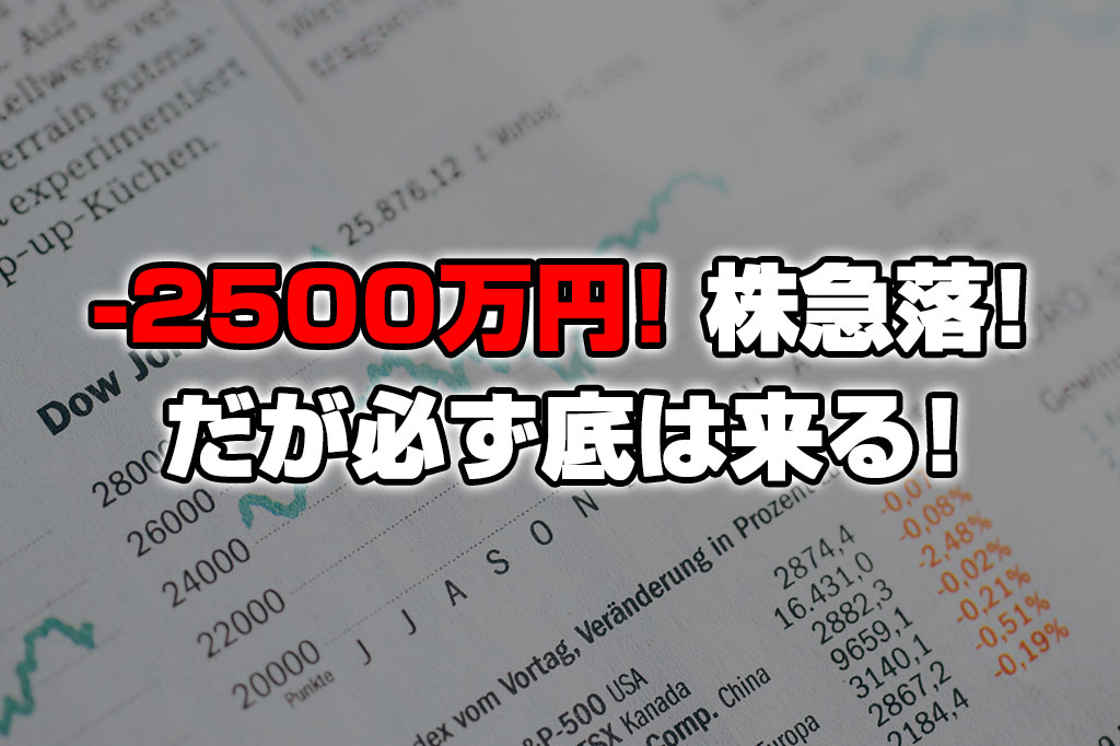 【投資報告】-2500万円!コロナウィルス拡大でまたしても株が急落!だが必ず底は来る!